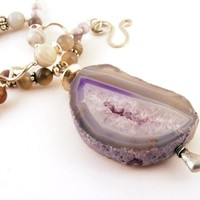 Handmade Purple Necklace with Large Druzy Agate Pendant with Sterling Silver Beads and Gemstones
