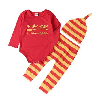 New 2017 Autumn Newborn Baby Boy Girl Clothes Short Sleeve Romper Top Long Striped Pants Hat 3Pcs Outfit Set