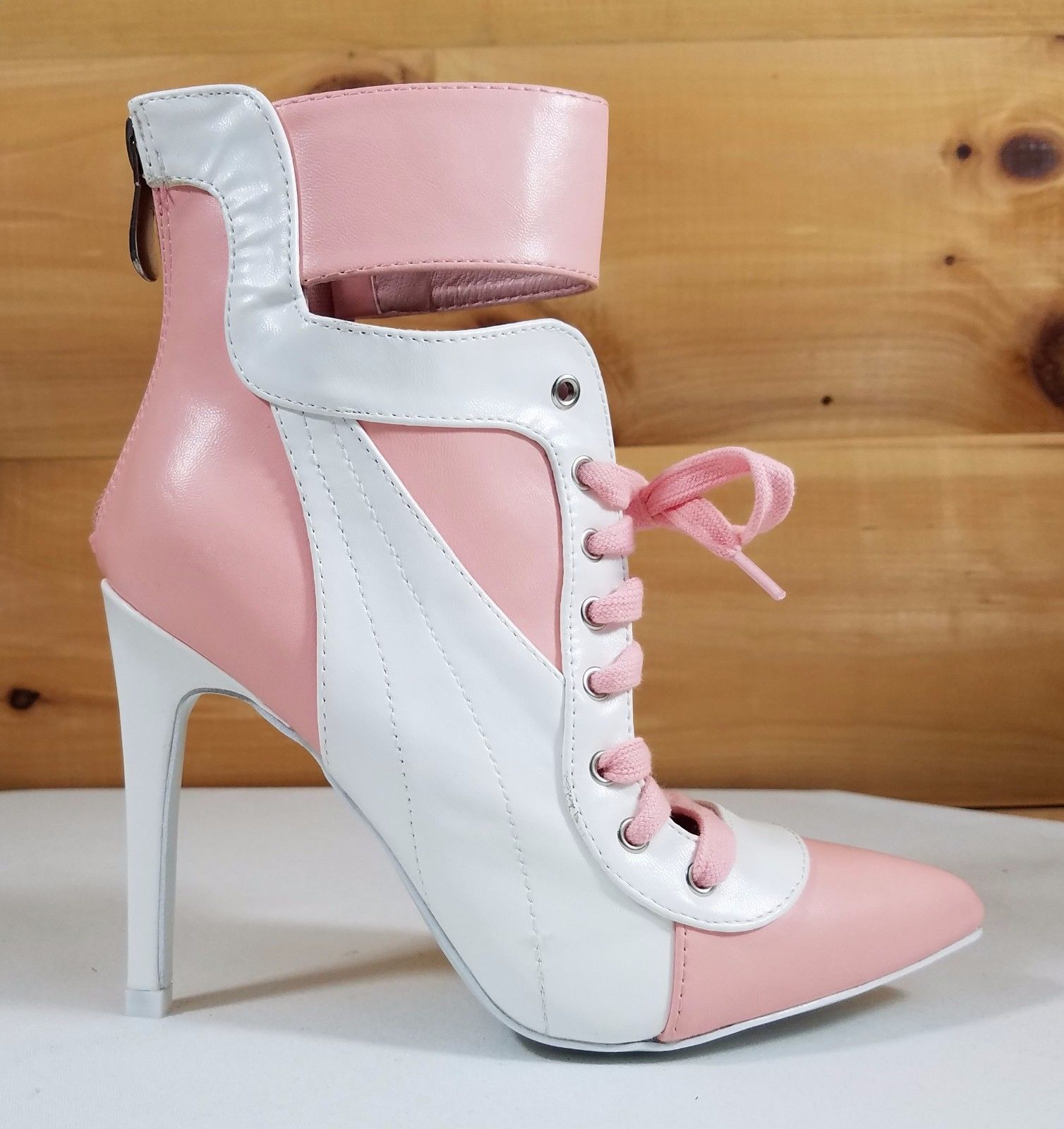 """Image of CR Pink & White Pointy Toe Lace Up Sporty 4.5"""" High Heel Ankle Sneaker Boots"""