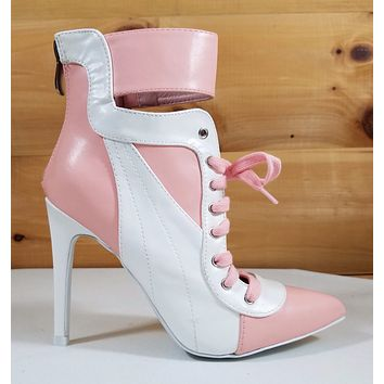 "CR Pink & White Pointy Toe Lace Up Sporty 4.5"" High Heel Ankle Sneaker Boots"