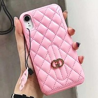 GUCCI Couple New Fashion Leather Personality Phone Case Protective Cover Pink