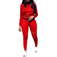 Ophestin Women Casual Long Sleeve Hoodies Ripped Top Skinny Long Pants Set Tracksuits 2 Piece Jumpsuits Outfits