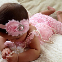 Light Pink Vintage Lace Petti Romper  by MyLilSweetieBoutique