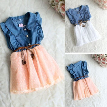 Baby Girls Kids Princess Dress One-piece Denim Dresses Skirt Clothes Belt 1-4Y
