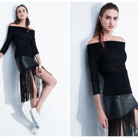 leather skirt,fringe skirt,womens skirts,in black,knee length,asymmetrical,chic,grunge,fashion,unique,for autumn and winter.--E0421