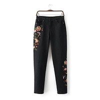 2017 new fashion women jeans high waist pants denim straight side embroidery flower printed black pant Bottoms