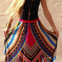 Boho Ethnic style Long Maxi Evening Party Beach Skirt
