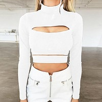 Autumn And Winter New Fashion Hollow Long Sleeved Turtleneck Women Top Shirt White