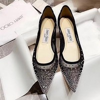 Jimmy Choo New Women Pointed Chic Diamond Net Yarn Sandals Shoes