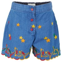 Chambray Cowboy Embroidered Culottes