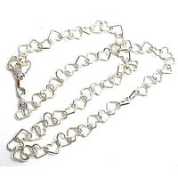 Sterling Silver Heart Link Chain Necklace 18""