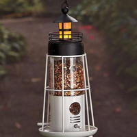 Bird Feeder Solar Powered Lighthouse Red Black Lawn Yard Garden Decor NEW