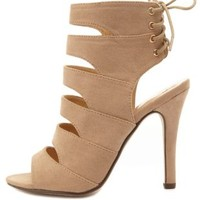 Laced-Back Cut-Out Peep Toe Heels by Charlotte Russe - Taupe