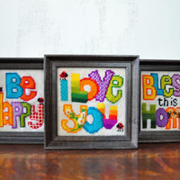 Vintage Needlepoint Framed Pictures, Wall Hangings, Crewel, Be Happy, Bless This Home, I Love You Sign, Housewarming Gift