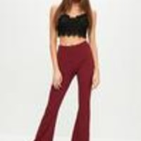 Missguided - Burgundy Crepe Kick Flare Pants