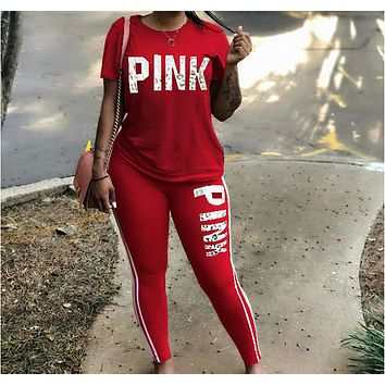 Victoria's Secret Fashion Hipster Pink Print Trendy Set red