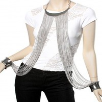 Celebrity Style Silver Cuff Body Chain Necklace