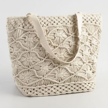 White Macrame Picnic Insulated Tote Bag