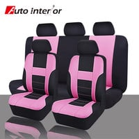 Auto Interial Zone Leather Car Seat Covers Supports , 11 Pieces/Set Luxury Pink Full Universal Car Seat Cover & Supports