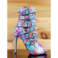 """Nelly Bernal Harmony Multi Color Snake Open ToeStrappy 4.5"""" Heel Ankle Boot 6-11"""