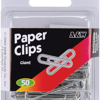 Paper Clips-Giant - Silver 50/Pkg