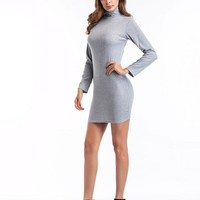 Fashion Plain Turtle Neck Women's Bodycon Dress