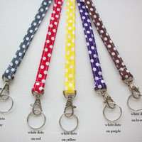 Lanyard  ID Badge Holder - NEW THINNER design  - Lobster clasp and key ring - polka dots