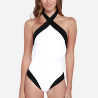 Black and White Halter Neck One Piece Swimsuit Bathing Suit