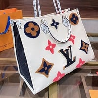 LV Louis Vuitton New Color Velvet Embroidered Ladies Shopping Handbag Shoulder Bag
