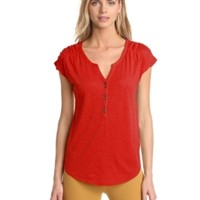 Lucky Brand Women's Marina Ruched Sleeve Top, Tomato Spice, X-Large
