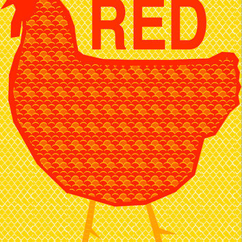 Rhode Island Red  12x18 Art Print by Giraffes and Robots