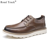 Road Track Shoes For Men Four Seasons All Matching Round Toe Solid Color Walking Non-Slip Flat With Lace-Up Shoes