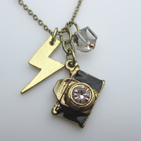 Flashy Camera Necklace with Lightning Bolt and Crystal