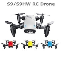 JMT S9W Mini Drone with Camera S9 No Camera RC Helicopter Foldable Drones Altitude Hold Quadcopter WiFi FPV Pocket Toys VS CX10W