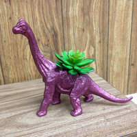 Up-cycled Large Glittery Rose Apatosaurus Planter