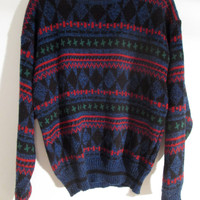 Vintage Hipster Sweater XS S M L Boho Hippie Gypsy Club Kid Acid Grunge 90s Bohemian Art Black Red Green Mod Ugly Awesome Festival Top