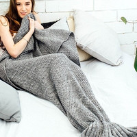 Solid Knitted Mermaid Tail Blanket Home Sofa Bedding Gift - Winter Spring Warm