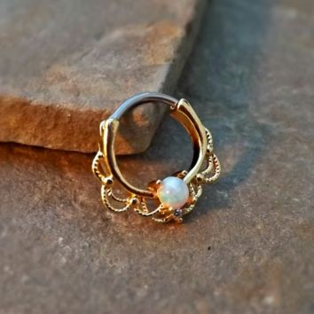 Gold Septum Clicker White Fire Opal Nose Jewelry 16ga Daith Ring Clicker Bull Ring Nose Piercing