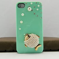 3D Bling Luxury handmade  fish   hard cover Case For iphone 4/4s or iphone 5