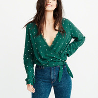 Womens Wrap-Front Blouse | Womens Tops | Abercrombie.com