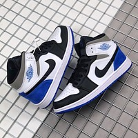 "Air Jordan 1 Mid SE ""Game Royal"" Hot Sale Colorblock High-Top Sneakers Shoes"