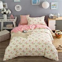Elegant floral print 3pcs bedlinens soft bedding set high quality cotton fabric Twin duvet cover set+flat sheet+pillowcase
