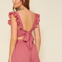 Ruffle Trim Tie Back Top And Shorts Set