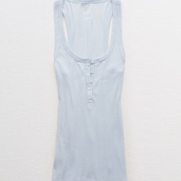 Aerie Real Soft® Ribbed Henley Tank, Creme Blue