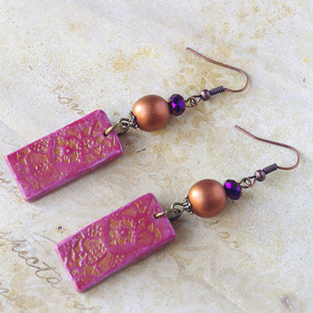 Purple Bronze Polymer clay earrings dangle - artisanan jewelry - christmas gift for her for sister best friend