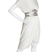 """Vintage 80s Tadashi Saks Fifth Avenue White Sequin Cocktail Dress 