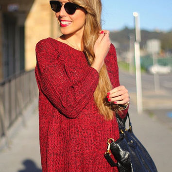 Red Oversized Loose Knit Sweater Fall Winter Fashion