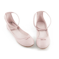 Womens shoes | pink leather flats | flat shoes | ankle strap flats Anabelle pink