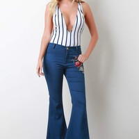 Floral Embroidery Mid Rise Bell Bottoms Jeans