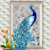 & 30*40cm 5D Diamond Embroidery DIY Beautiful Blue Peacock Pictures Diamond Mosaic Needlework Cross Stitch Kits Home Decor Canva